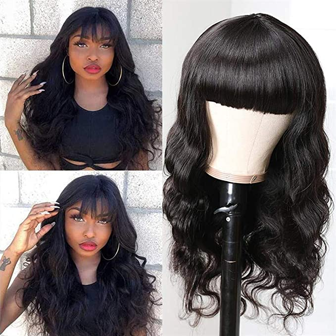 Body Wave Human Hair Wigs With Bangs 150 Density None Lace Front Wigs With Bangs Glueless Machine Made Wigs With Bangs For Black Women Natural Color Beauty Amazon Com