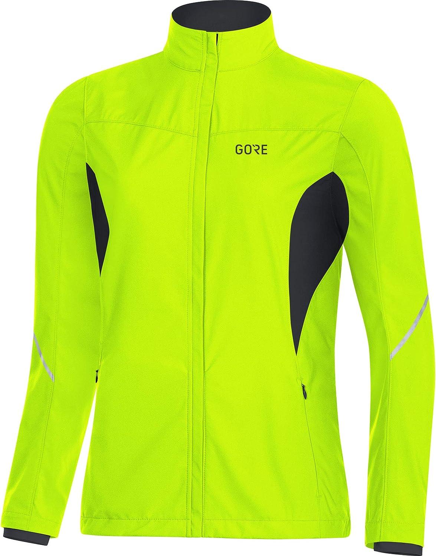 ゴアウェアレディースR3パーシャルウィンドプルーフランニングジャケット - ネオンイエロー/ブラック、サイズ:38