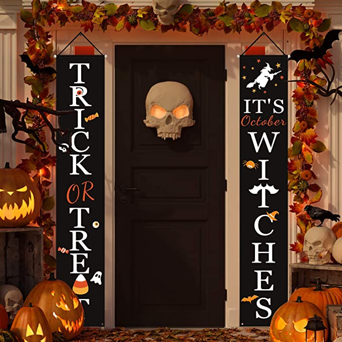 Halloween Welcome Signs | Trick or Treat & It's October Witches Halloween Signs for Front Door