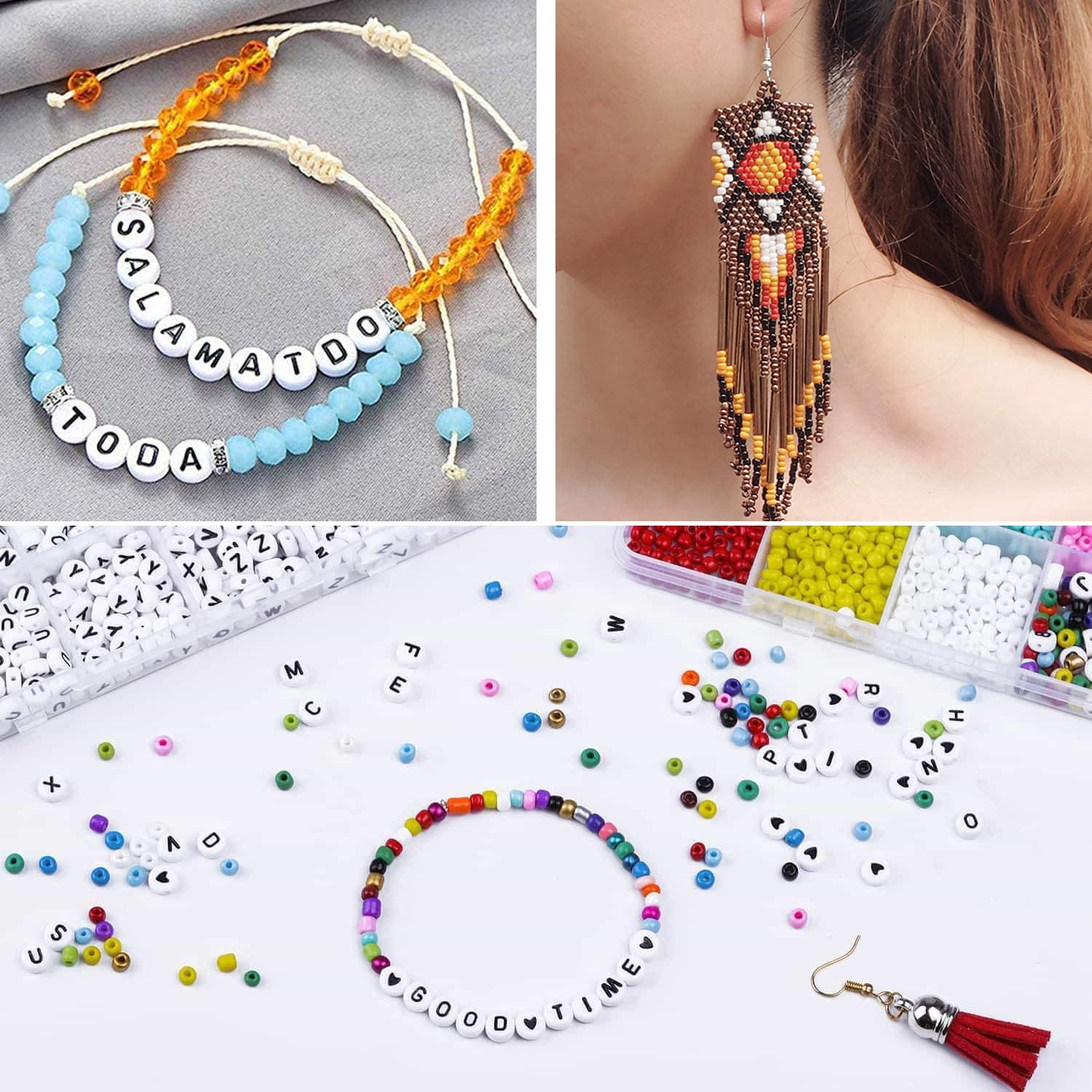 Glass Pony Seed Letter Alphabet DIY Bead with 3 Rolls of Cord for Bracelets Necklaces Key Chains and Jewelry Craft and Art Set Apsung Jewelry Making Kit Beads for Bracelets