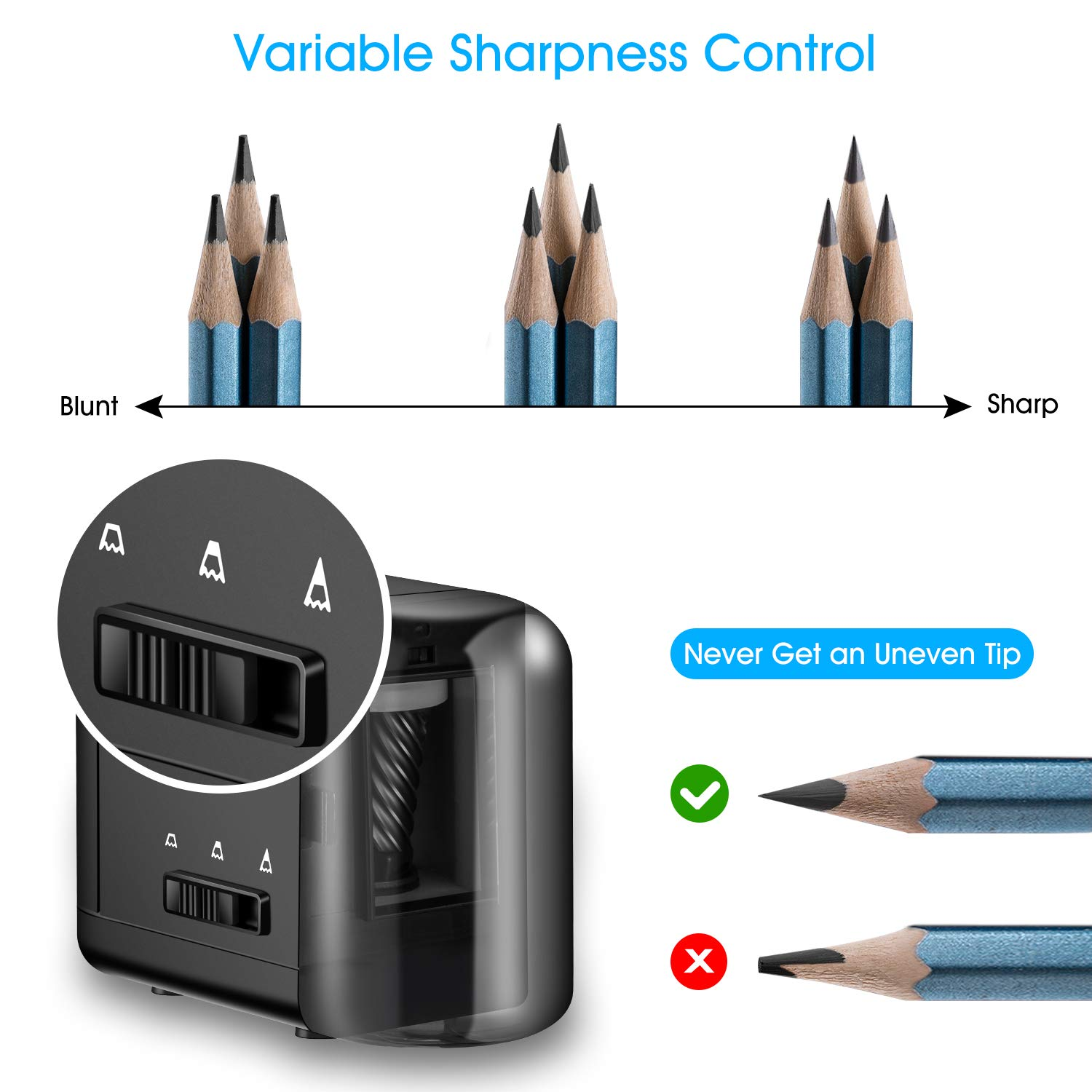 Tobeape Electric Pencil Sharpener, Heavy-duty Helical Blade, Variable Sharpness Control for 6.5-8mm Diameter Pencils, USB or AC or 4 AA Batteries Operated in Classroom Office Home