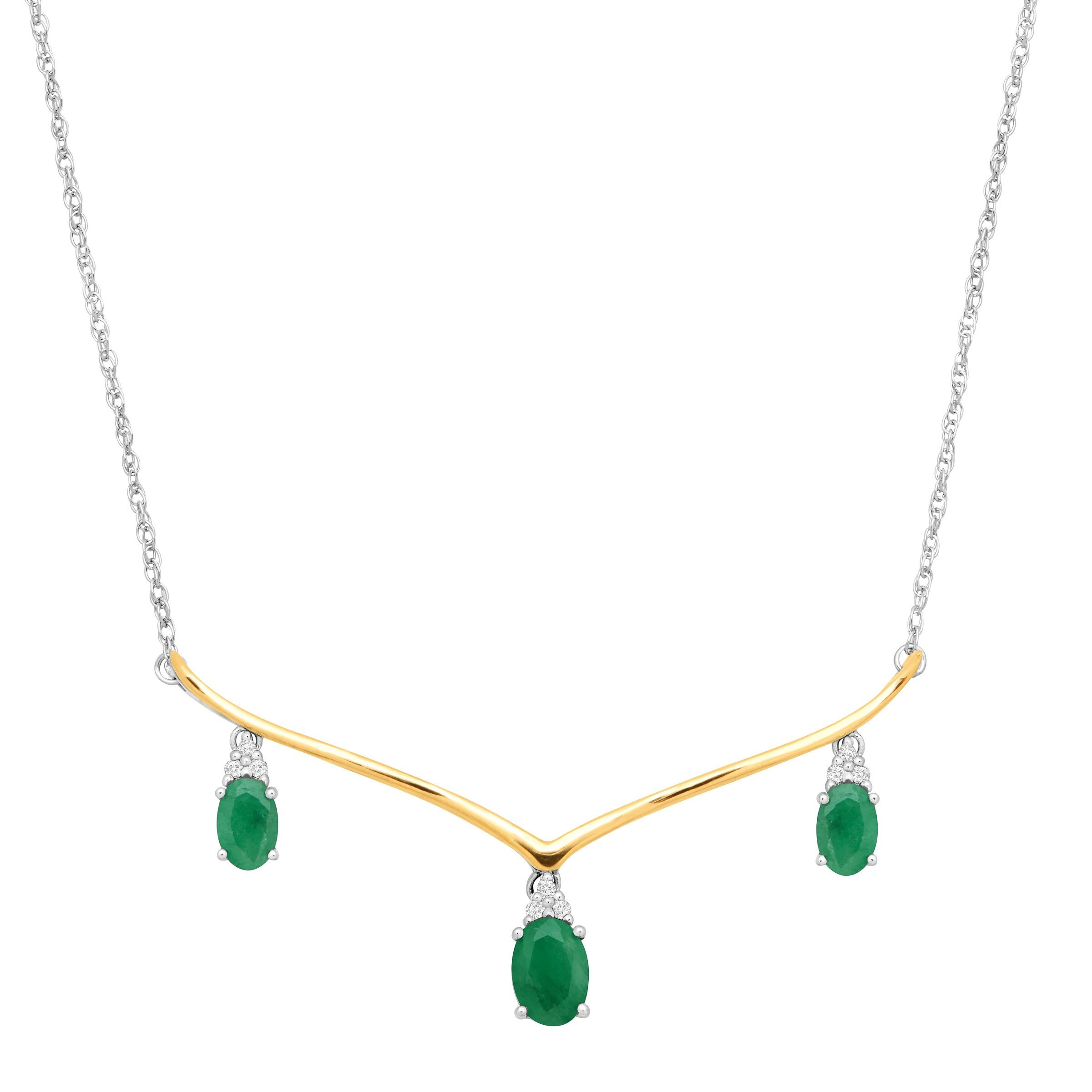1 3/4 ct Natural Emerald Garland Necklace with Diamonds in Sterling Silver & 14K Gold