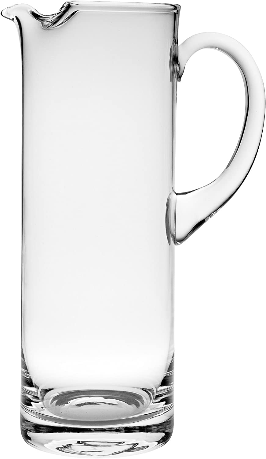 "Barski Handmade Straight Sided Glass Pitcher with handle , With Spout, Ice Lip, 54 oz. 11"" H, Made in Europe"