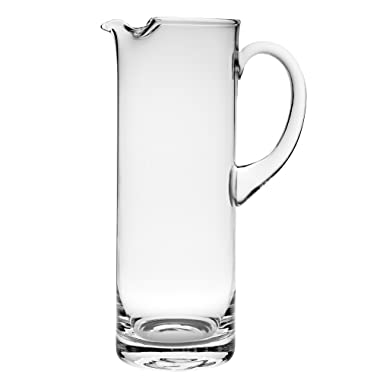 Barski Handmade Straight Sided Glass Pitcher with handle , With Spout, Ice Lip, 54 oz. 11  H, Made in Europe