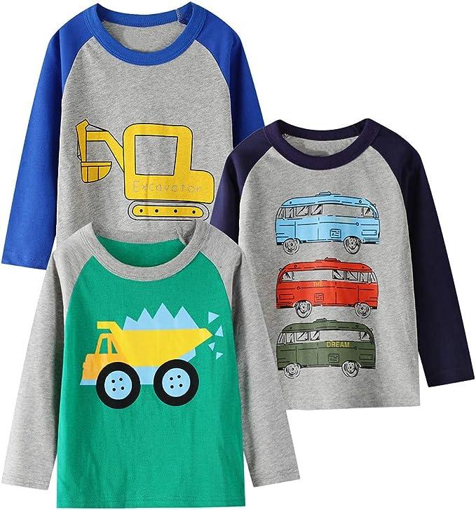 MiMiey 3PC Tshirt Kinder, Baumwolle Langarm Shirt