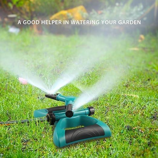 Gladorn Aspersor, automática 360 Giratorio Ajustable Jardín Riego Césped Riego Sistema, el Rango de Grandes con leckfreiem Bosquejo Durable 3 Brazo de Aerosoles Cubre: Amazon.es: Jardín