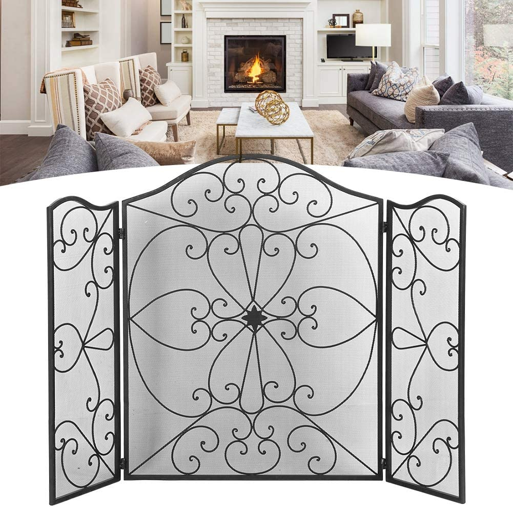 127 x 91cm Black Free-standing 3-fold Surround Screen GOTOTOP Fireplace Spark Guard Fireguard for Fireplace and Stove Iron Fire Screen