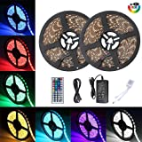 Targherle [Upgrade] New LED Light Strip Kit, 32.8ft/10M SMD5050 IP65 Waterproof Light Strip with 44 Key Remote RGB Controller, Extra Adhesive 3M Sponge Tape, Power Supply for Indoor and Outdoor