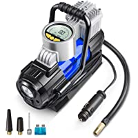 AstroAI Portable Air Compressor Pump, Digital Tire Inflator 12V DC Electric Gauge with Larger Air Flow 35L/Min, LED Light, Overheat Protection, Extra Nozzle Adaptors and Fuse, Yellow, Best Gift For Men (Blue)