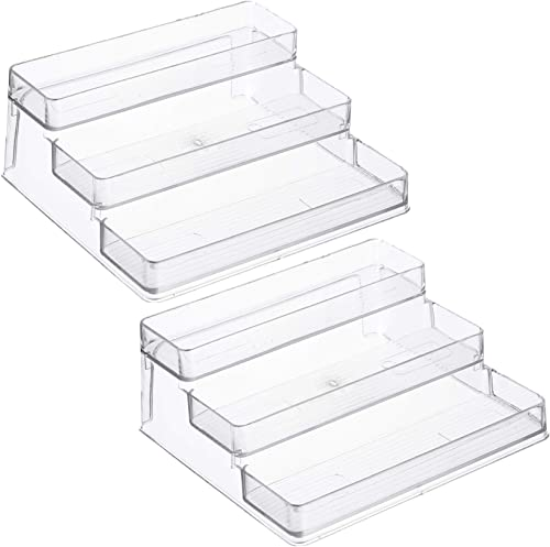 Home Intuition 3-Tier Spice Rack Step Shelf Cabinet Organizer, Clear 2