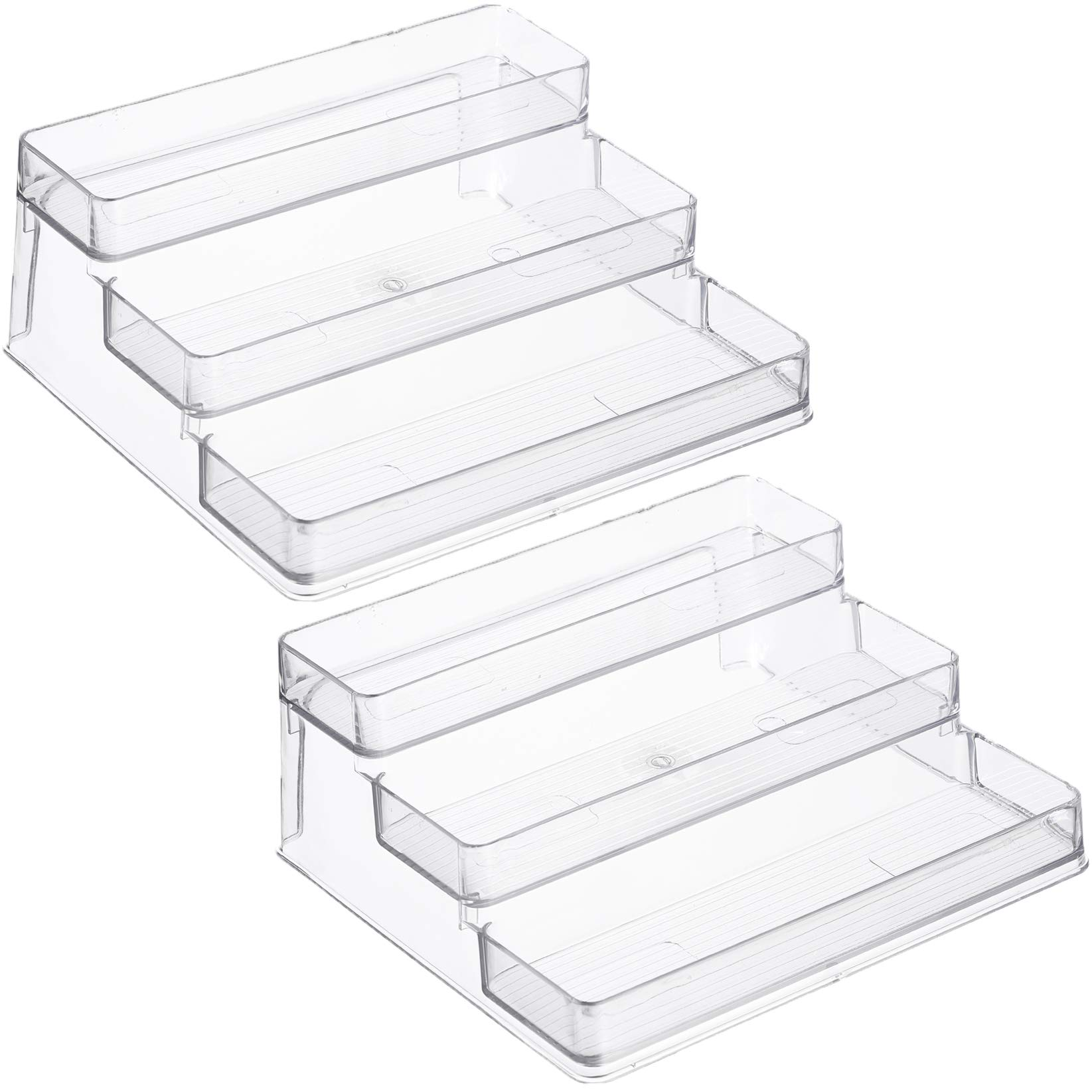 Home Intuition 3-Tier Spice Rack Step Shelf Cabinet Organizer, Clear (2) by Home Intuition