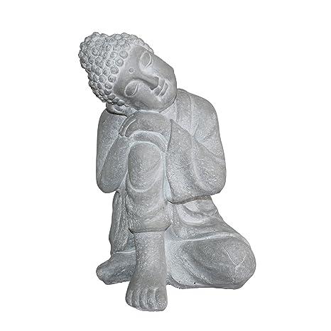 HOMEA 5dej1324bc Estatua Dibujo Buda Pensador Tiza Blanco 29 x 28 x 42 cm