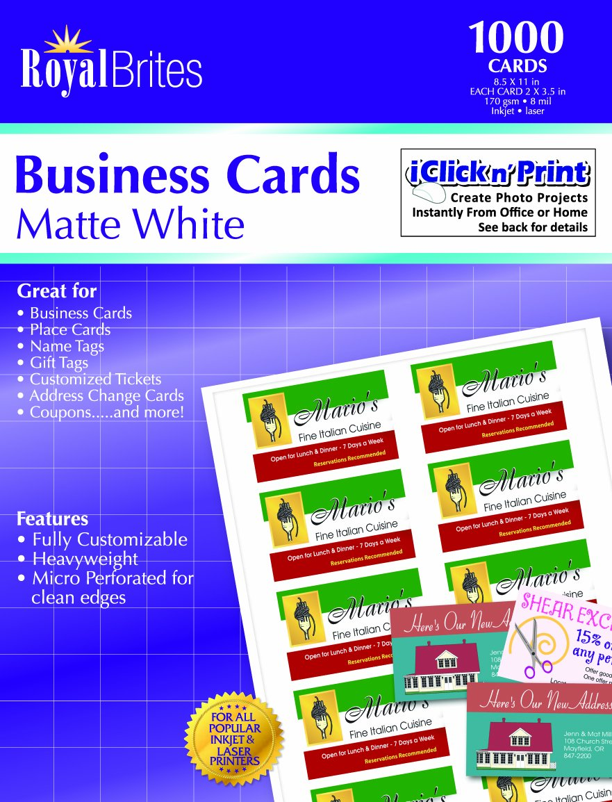 Amazon royal brites matte business cards white 2 x 35 amazon royal brites matte business cards white 2 x 35 inches pack of 1000 28992 photo quality paper office products magicingreecefo Choice Image