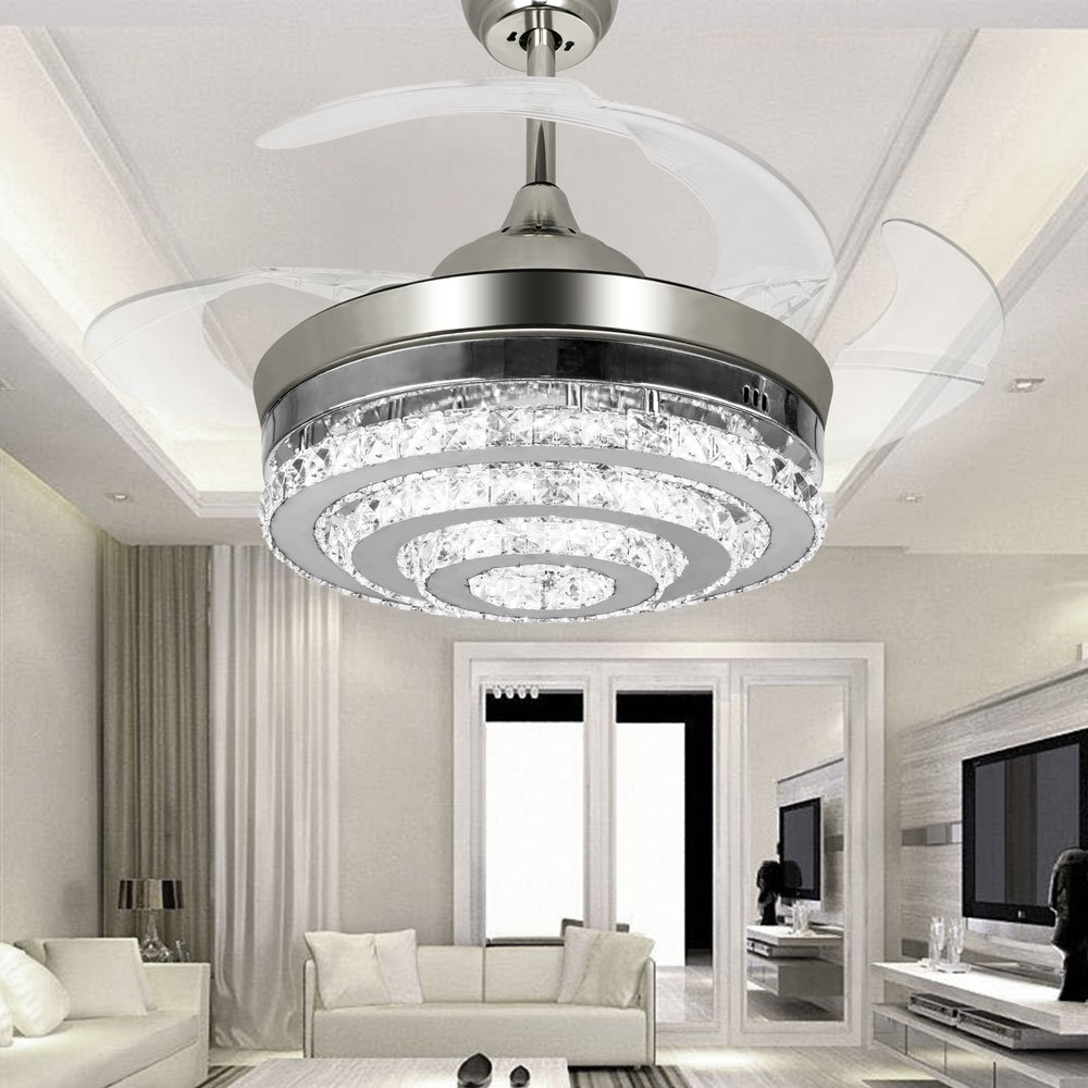 colorled 3circle diamond crystal ceiling fans with lights retractable 4blade remote control lights42 inch fans chandelier with led lights for indoor
