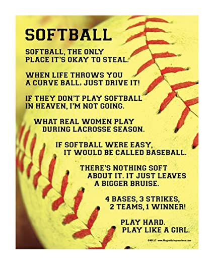 """Posters and Prints by Magnetic Impressions Softball Sayings 13 75"""" x 17""""  Vinyl Wall Decal"""