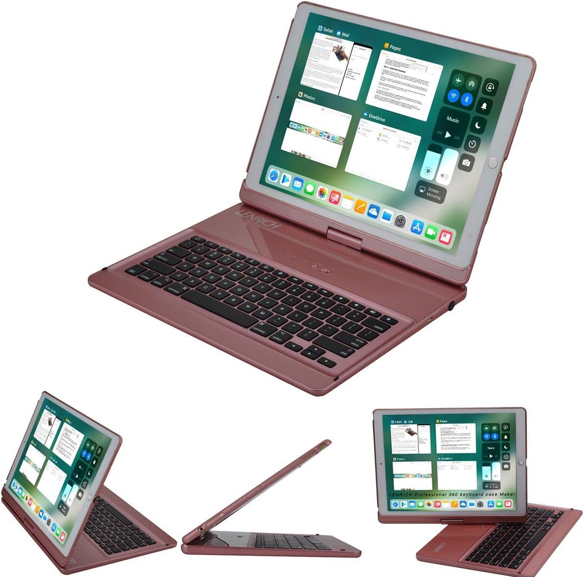 LENRICH iPad pro 12.9 Keyboard case 2017 2nd 2015 1st Gen,360 Rotatable Wireless Keyboard Smart Folio 180 Swivel Stand Hard Shell Cover Auto Sleep/Wake up Rose Gold