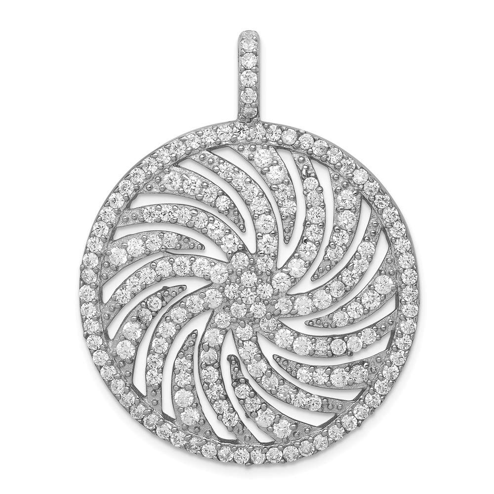 Sterling Silver CZ Large Circle Swirl Pendant 34 mm 44 mm Pendants /& Charms Jewelry