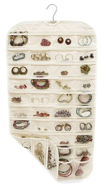 TWING Non Woven Hanging Jewelry Organizer Display,80 Pocket Closet Canvas  Ultra Jewelry Organizer