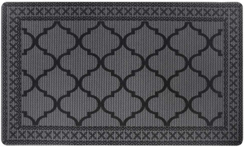 "Carvapet Moroccan Trellis Non-Slip Doormat Durable Honeycomb Texture Kitchen Rug Runner Carpet, Indoor Outdoor, Easy Clean, Low-Pile Mats for Entry, Garage, Patio, High Traffic Areas, 18""x30"", Grey"