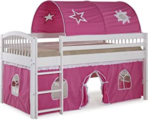 Dylan White Junior Loft Bed with Pink/White Tent and Playhouse