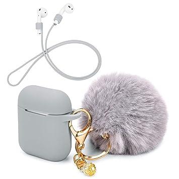 OOTSR Funda Protectora con Lindo Llavero Pompom Ball, Compatible con Apple AirPods Estuche de Carga, Cubierta Protectora de Silicona y Correa ...
