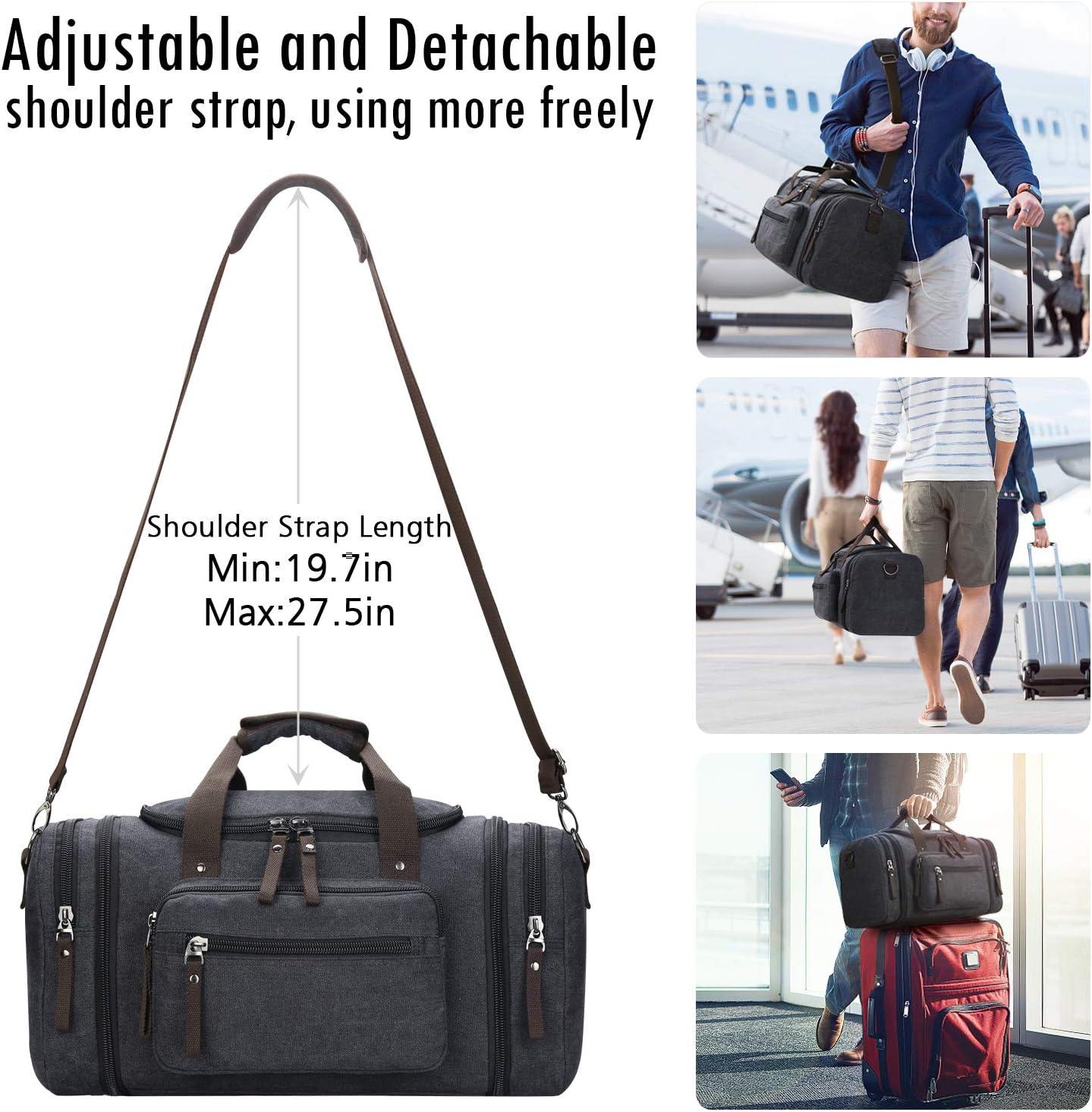 Wang5995 Canvas Travel Large Capacity Handbag Single Shoulder Cross Multi Function Luggage Bag Travel Boutique Color : Coffee Color