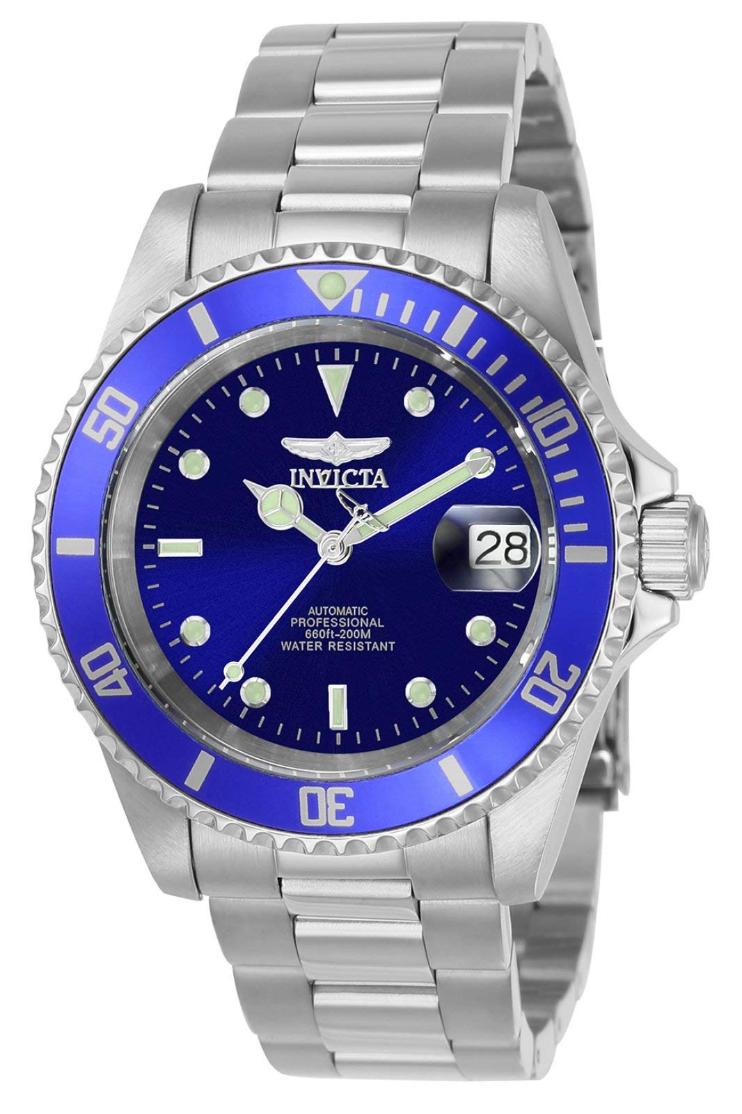 Men's Pro Diver 40mm Stainless Steel Automatic Watch with Coin Edge Bezel, Silver/Blue (Model: 9094)
