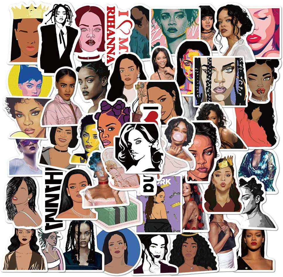 Singer Rihanna Stickers for Water Bottle and Laptop 50pcs Pack, Waterproof Durable Trendy Vinyl Hydro Flask Decal for Teen Girl, Travel Case, Compute, Phone, Skateboard, Guitar (Rihanna)