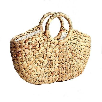 Rattan paja bolsas de playa tejida bolsos mujeres bolsa ...