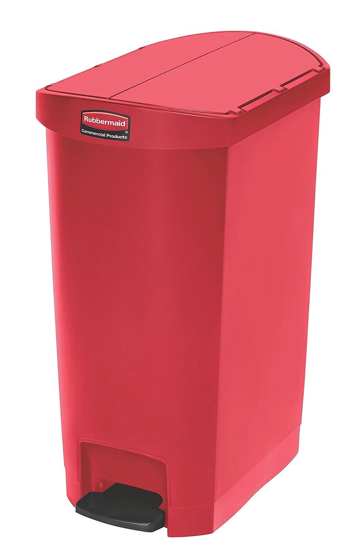 Rubbermaid Commercial Products 1883567 Slim Jim Step On Kunststoff-Tretabfalleimer mit Pedal an der Schmalseite, 50 L, Rot B00Q4MO4PA | Bekannt für seine hervorragende Qualität