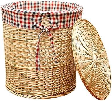 GBX Cesta de almacenamiento, cesta de mimbre Cesta de mimbre grande Almacenamiento de lavandería Caja tejida Baño 3 colores 45 x 50 cm, una cesta para almacenar artículos diversos,Color primario: Amazon.es: Bricolaje
