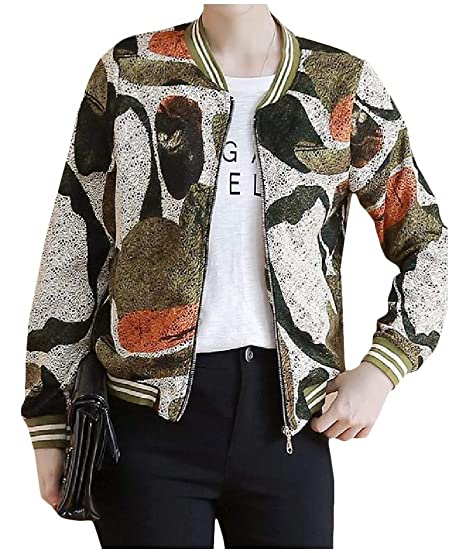 4c69033e0081a Freely Womens Camouflage Patterned Stand up Collar Baseball Long-Sleeve Jackets  Army Green S