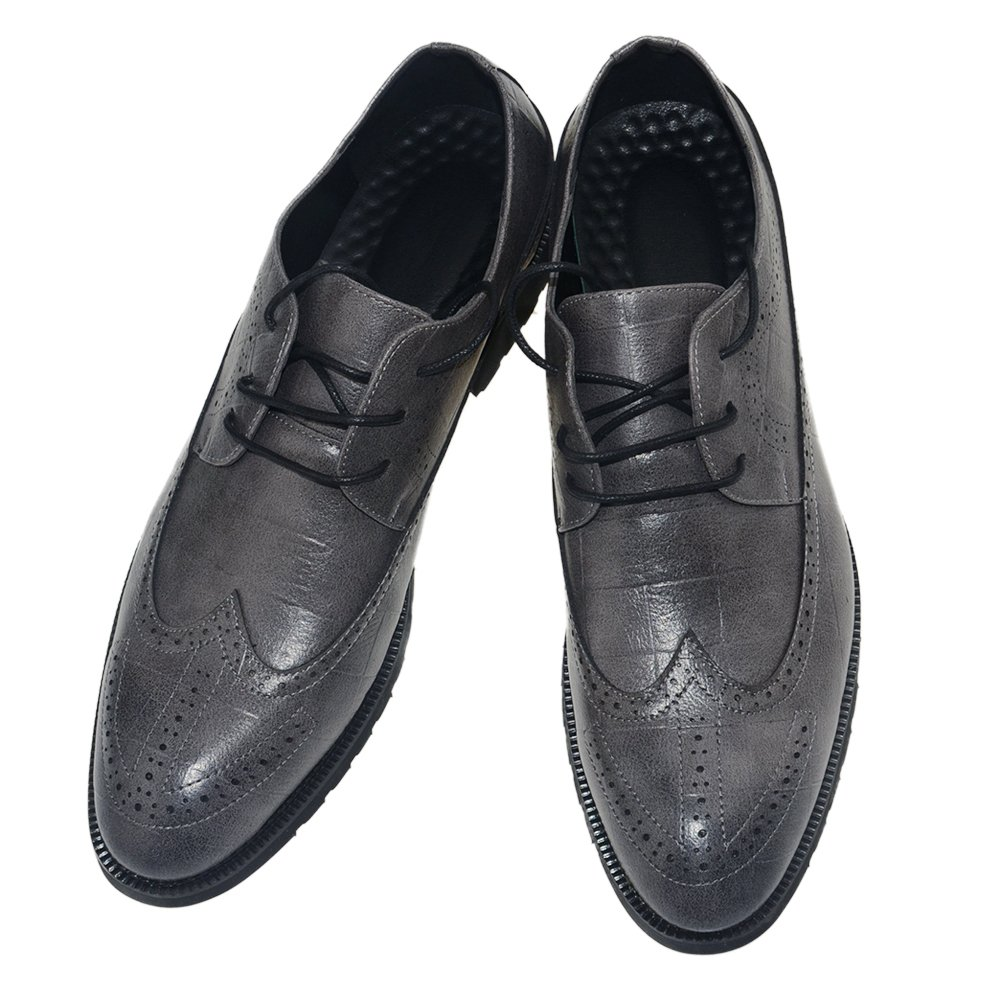 MHB Men's Casual Classic Lace Up Oxfords Lace Dress Shoes 7in Gray
