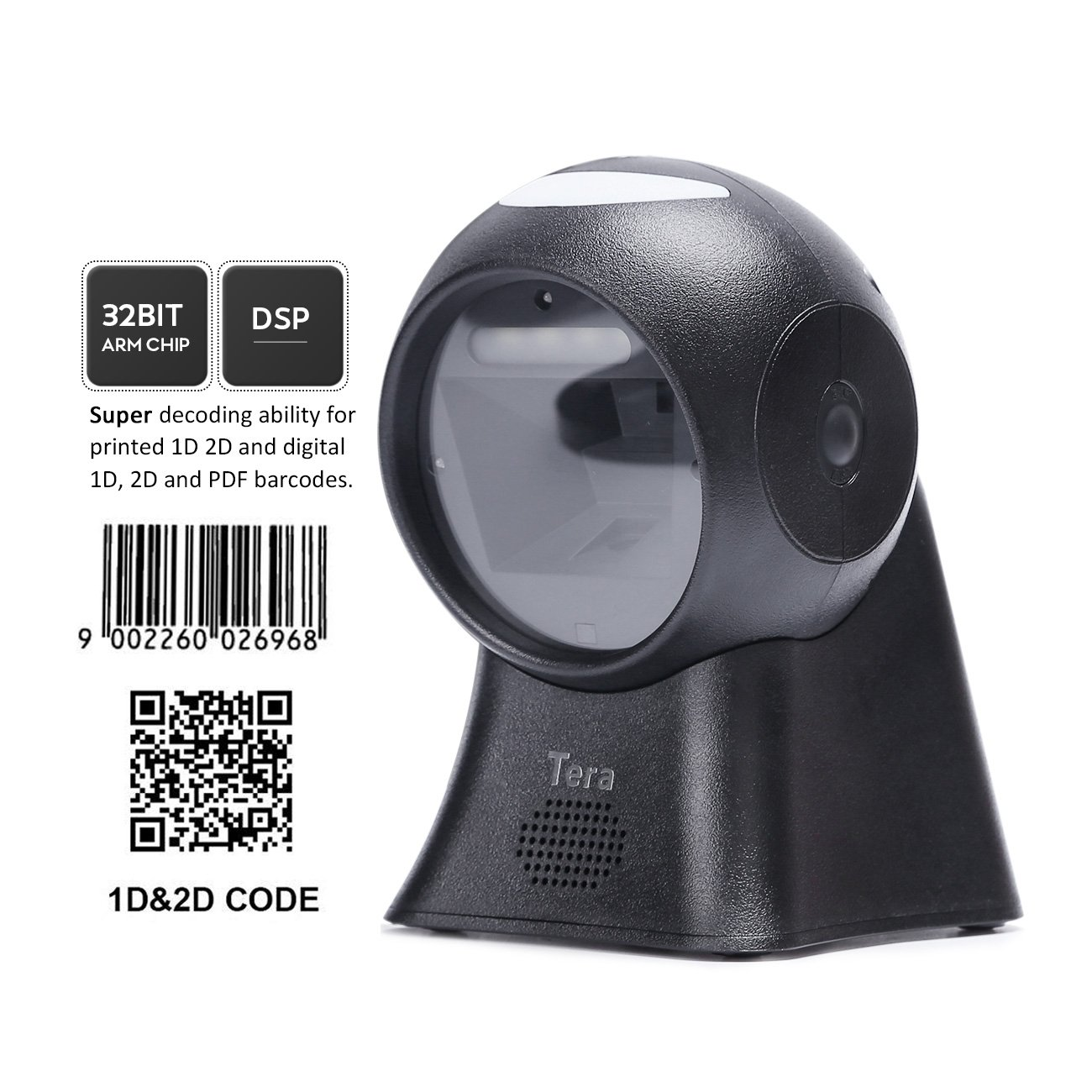 Tera Omnidirectional Barcode Scanner Presentation Scanner Barcode 1D 2D QR Digital Bar Codes Merchandise Codes Barcode Scanner Superior Scanning Performance Adjustable Scan Head Multi Interface