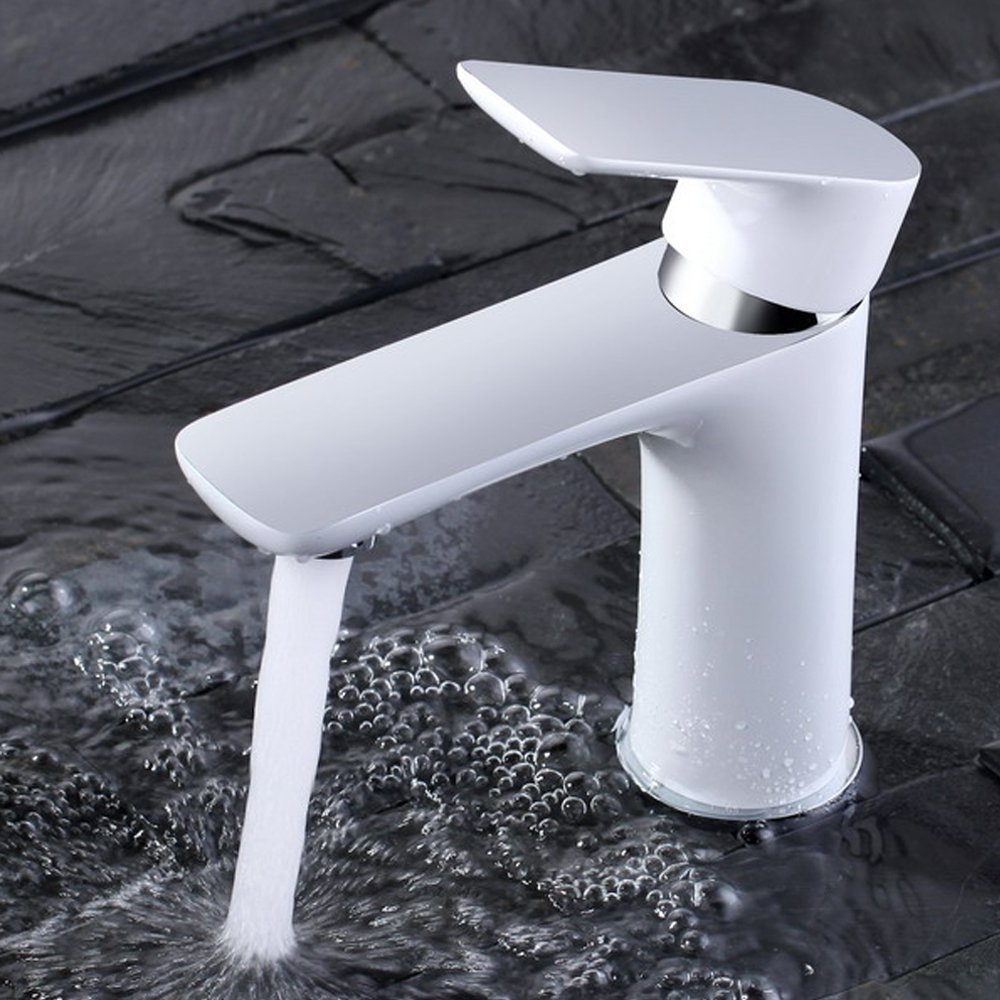 Contemporary bathroom taps uk - Dailyart White Shell Contemporary Basin Mixer Faucet Solid Brass Bathroom Sink Tap Amazon Co Uk Kitchen Home