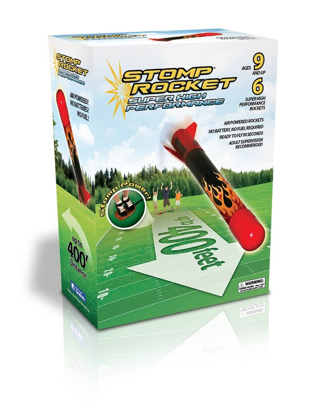 An image of a Stomp Rocket toy in a green box.