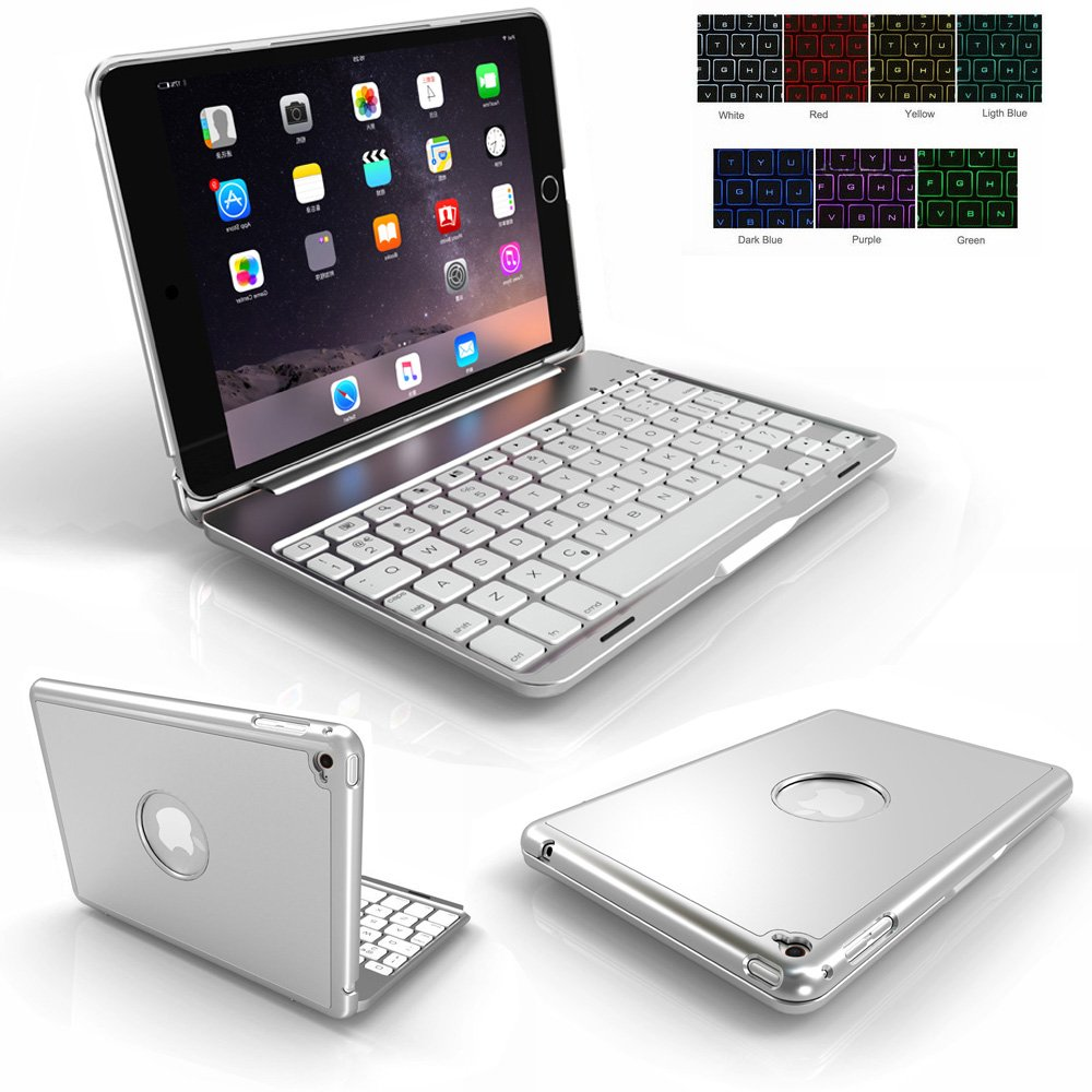 iPad Mini 4 Case Keyboard,Genjia Portable Carrying Holder Aluminum Alloy Bluetooth Wireless Keyboard Backlit Flip Hard Cover Scratch Proof Auto Sleep/Wake Smartcover for Apple iPad Mini 4 - Silver