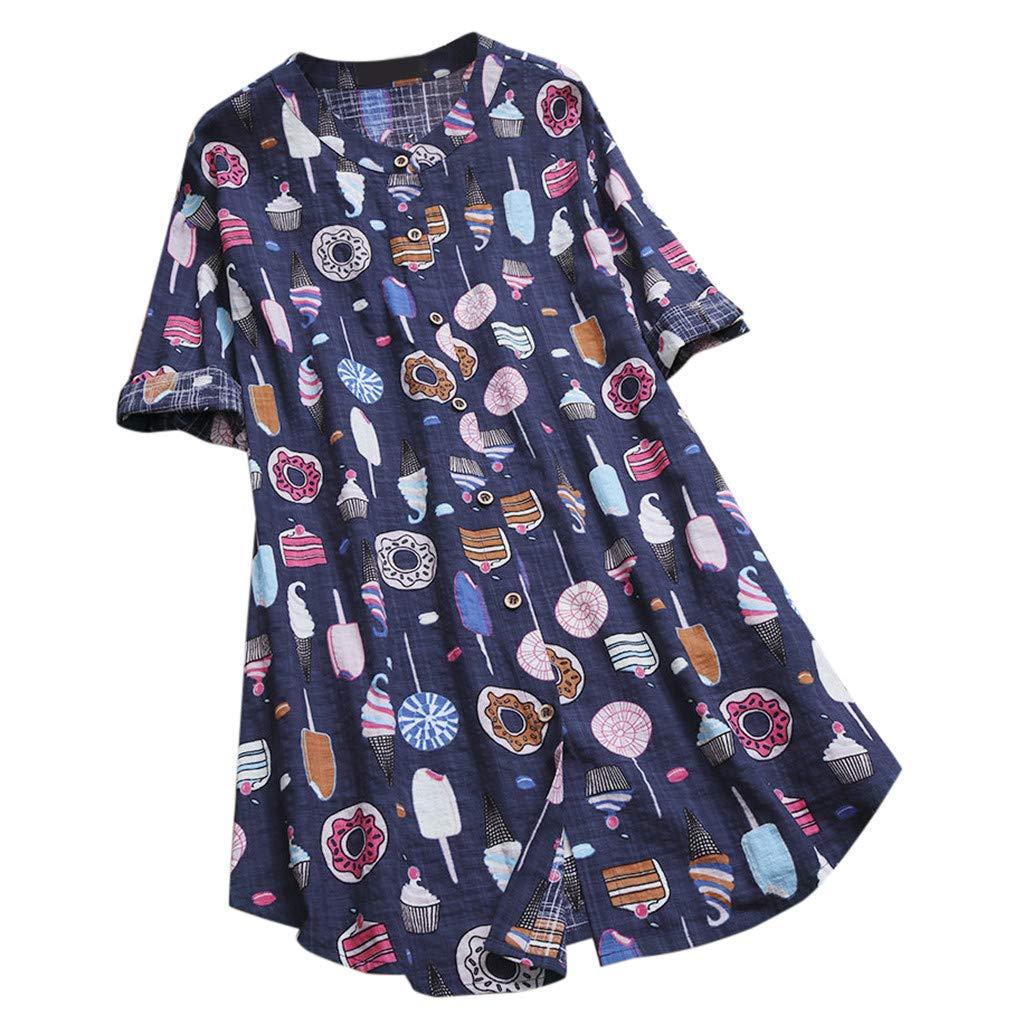 Fiaya Women Boho T-Shirt 3//4 Cuffled Sleeve Button Down Polka Dot Loose Tunic Tops Blouse Tees S-5XL 2XL, Yellow Solid