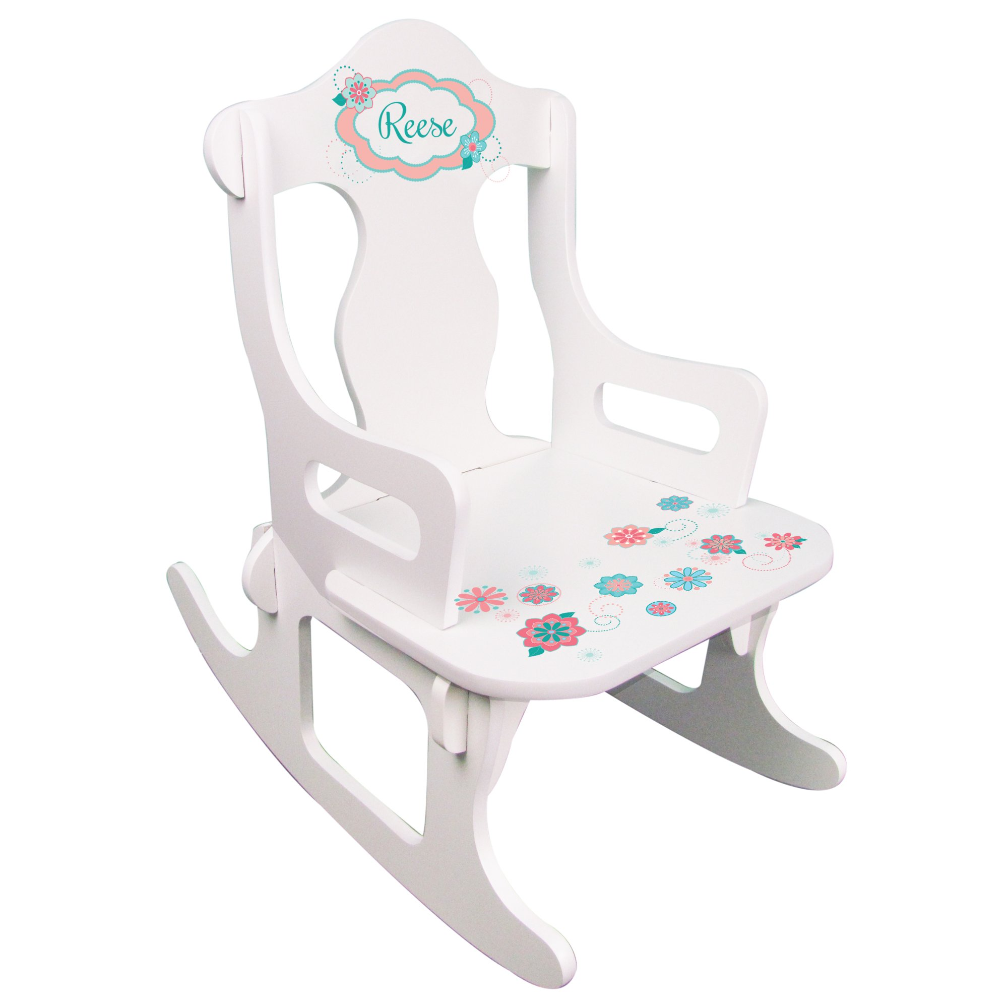 Personalized Child's Coral Scope Puzzle Rocking Chair