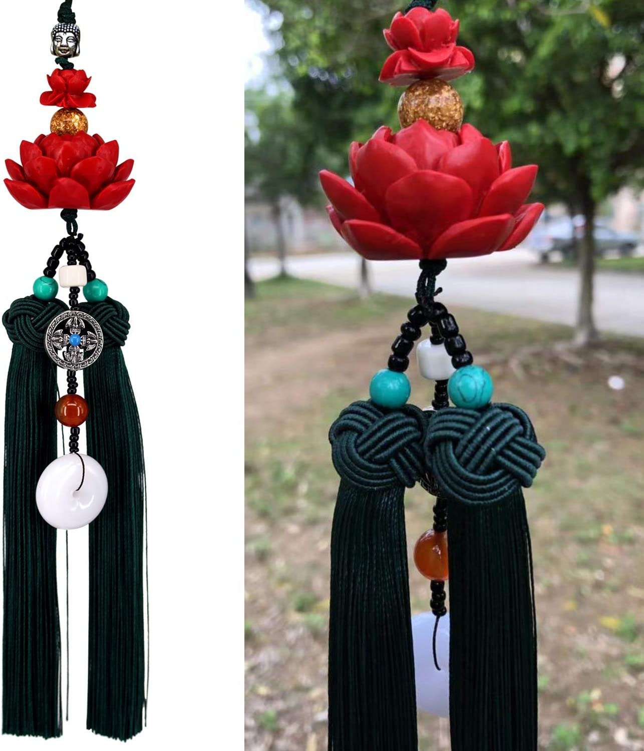 Lotus Double Tassel Car Hanging Decoration with Chinese Knot Car Charm Rear View Mirror Pendant Car Styling Accessories Auto Decoration Gift