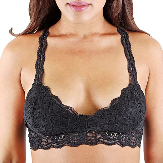b774a9133d Floral Lace Racerback Unpadded Bralette Top Sheer Bustier Crop Wireless  Lingerie Bra (Small