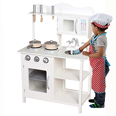 75abc68b6 Kids Wooden Play Kitchen Pretend Toy Cooking Role Play - White   Amazon.co.uk  Baby
