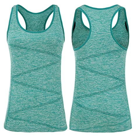 e5033c1fdf3b79 VANIS Running Vest Tops Womens Ladies Sports Tank Tops Activewear with  Support Bra Racerback Sleeveless T-Shirts Sports Athletic Tennis Yoga  Workout ...