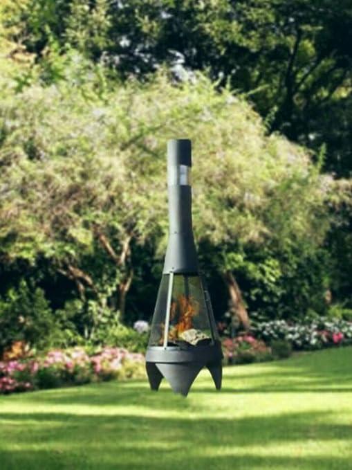 Abaseen - Chimenea de Exterior para jardín, Patio, Chimenea, Quemador de Madera, Chimenea de Acero (Moderna 120 cm): Amazon.es: Jardín