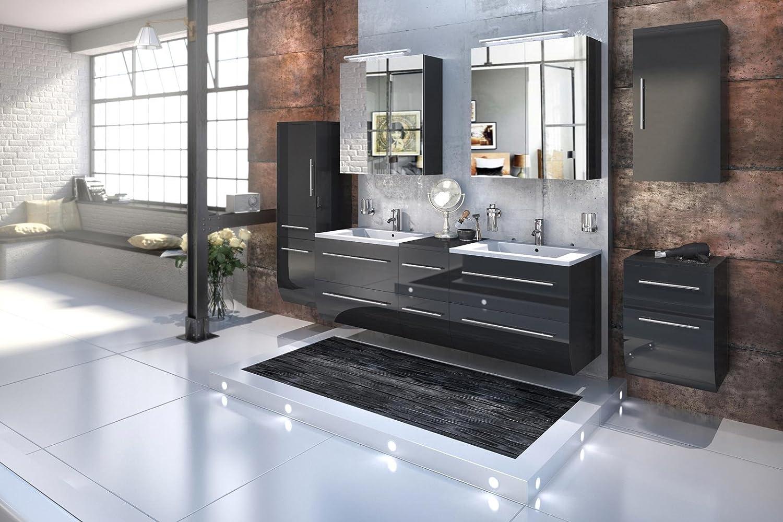 Doppelwaschbecken Mit Unterschrank Und Spiegelschrank : bad11 badm belset zesiro in hochglanz schwarz 6 ~ Watch28wear.com Haus und Dekorationen