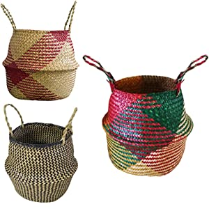 PROKTH Natural Seaweed Woven Belly Basket, Laundry Washing Toys Basket Natural Storage Straw Planter, Shopping Basket Plant Flowerpot Basket Foldable Handmade Storage Basket Colorful
