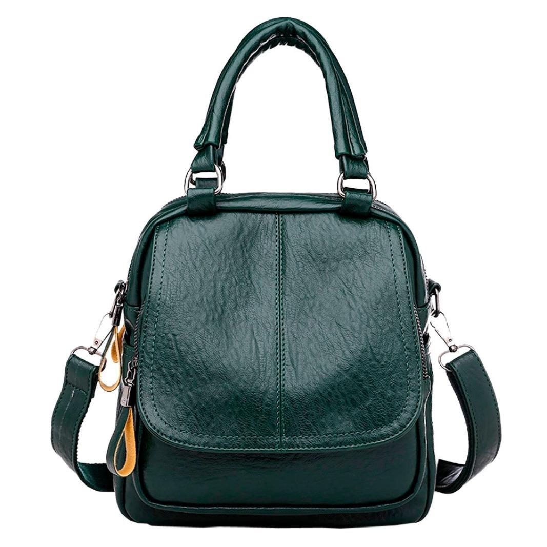 Chartsea Vintage Girl Leather School Bag Backpack Satchel Student Travel Shoulder Bag (Green)