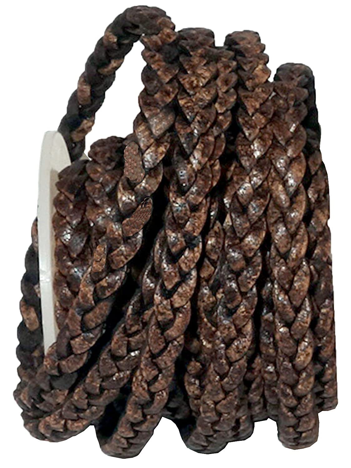cords craft 5mm 3 Ply Flat Braided Genuine Leather Cord, Dark Brown Color, Hand Braided, Roll of 5 Meters J1-D2