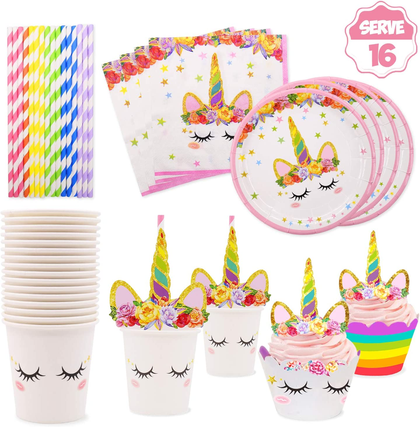 Table Cover Cutlery Napkins Plates Magical Unicorn Cups 10/% off over £10