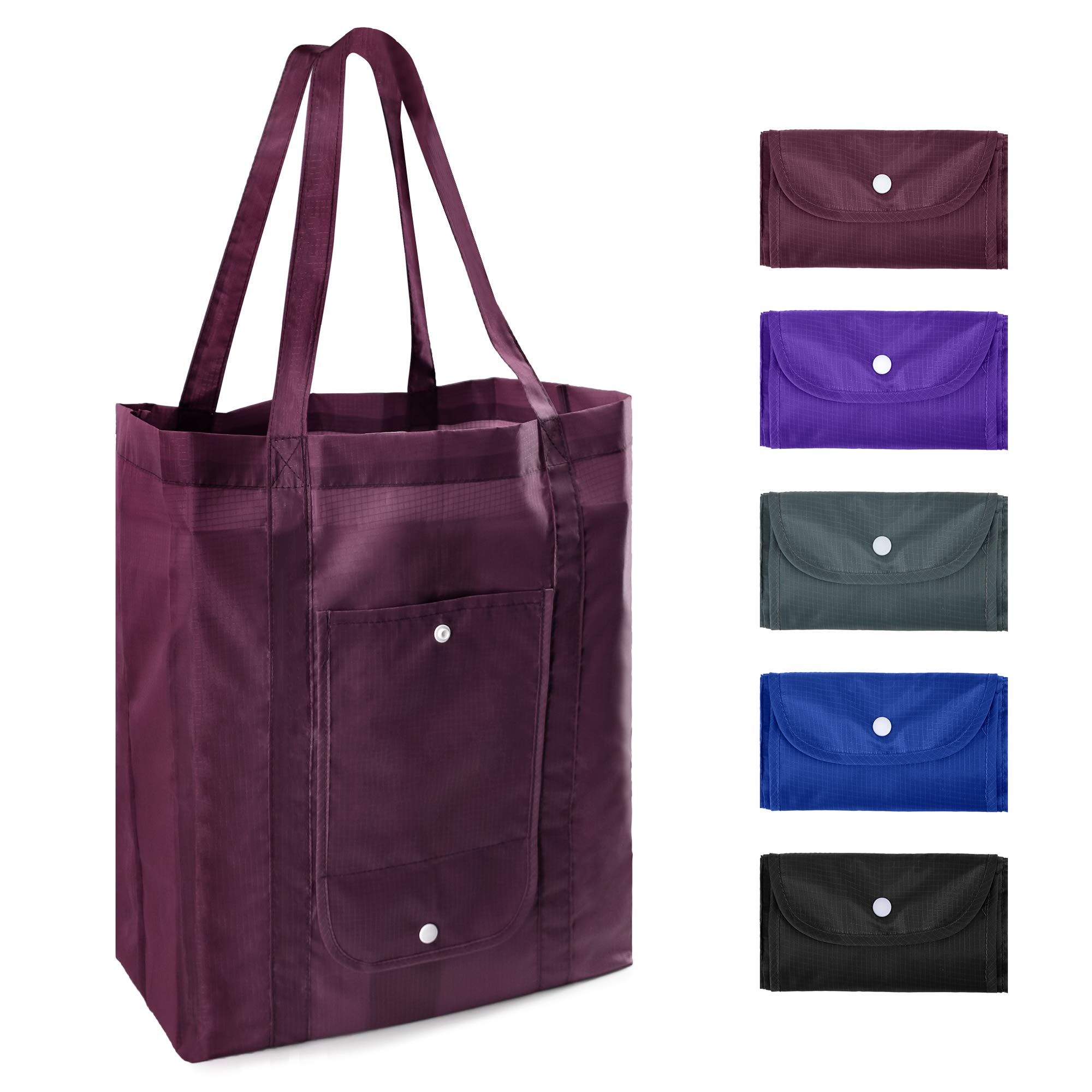 Reusable Grocery Tote Bagswith Pocket Bulk 5 Pack XLarge 50LBS FoldableReusable Shopping Bags with Reinforeced Long Handles Machine Washable Ripstop Polyester Burgandy Purple Black Royal Grey